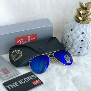 MIRRORED BLUE RAY-BAN AVIATOR 100% AUTHENTIC